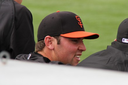 Everyone wanted to get a peek at Bruce Bochy's son Brett. He pitched one inning.