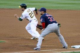 Cleveland Indians first baseman Nick Swisher. Oakland Coliseum. April 2, 2014