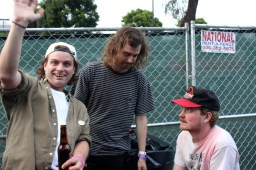 Mac DeMarco and his band hanging out backstage at Burgerama before their set.