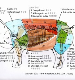 korean pork cuts diagram by jinjoo lee www kimchimari com  [ 1280 x 980 Pixel ]