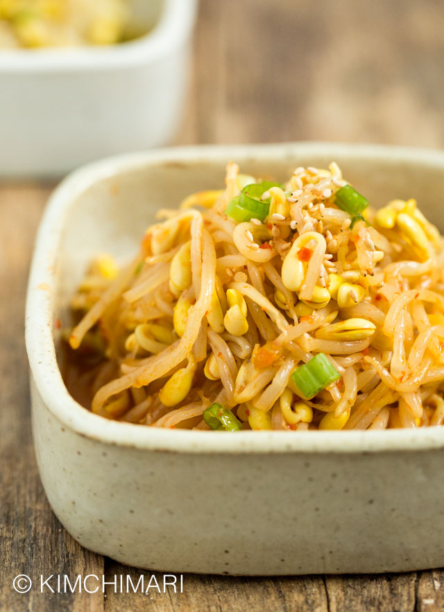 Finished Kongnamul Muchim - soybean sprouts side dish - plated