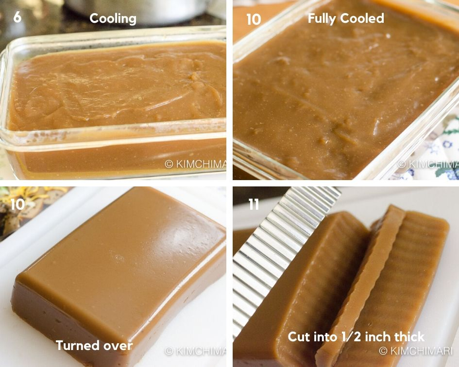 pics showing acorn jelly cooling in container then removed and cut into thick slices