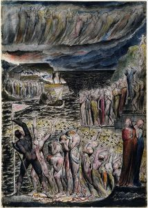 "William Blake's depiction of ""The Vestibule of Hell and the Souls Mustering to Cross the Acheron"". National Gallery of Victoria."