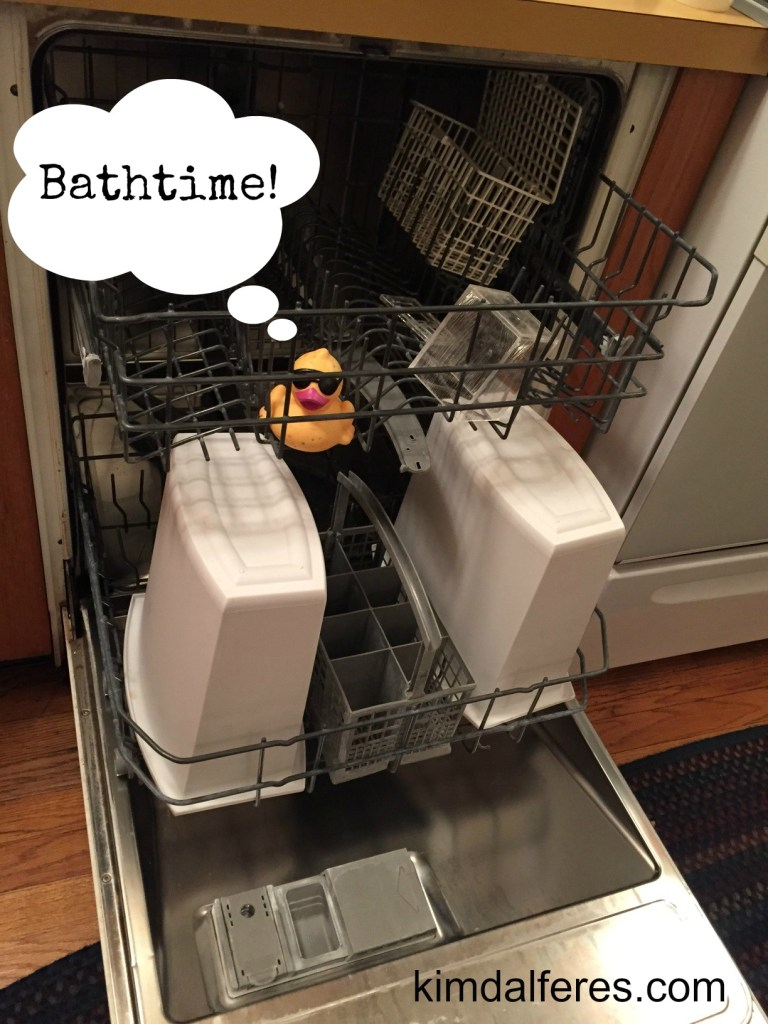 rubber ducky in the dishwasher with text