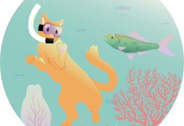 a cat snorkling! He is different from the other kitties