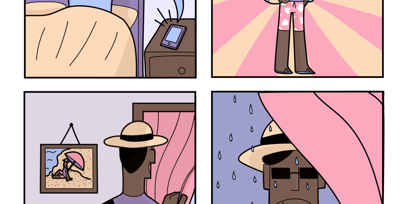 4 panel comic of when you are excited for the bank holiday but the weather ruins it.