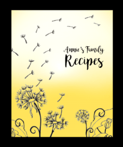 recipe book cover, sunshine and dandelion puffs
