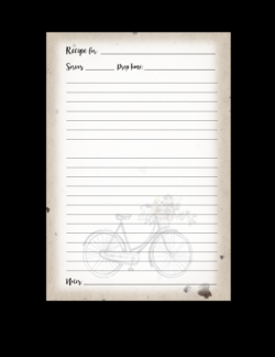 recipe book pages blank bicycle set