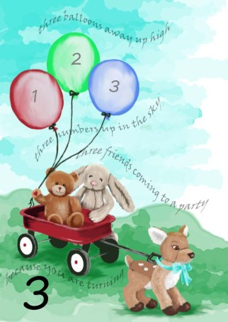 three stuffed animals heading to a birthday party for grandson