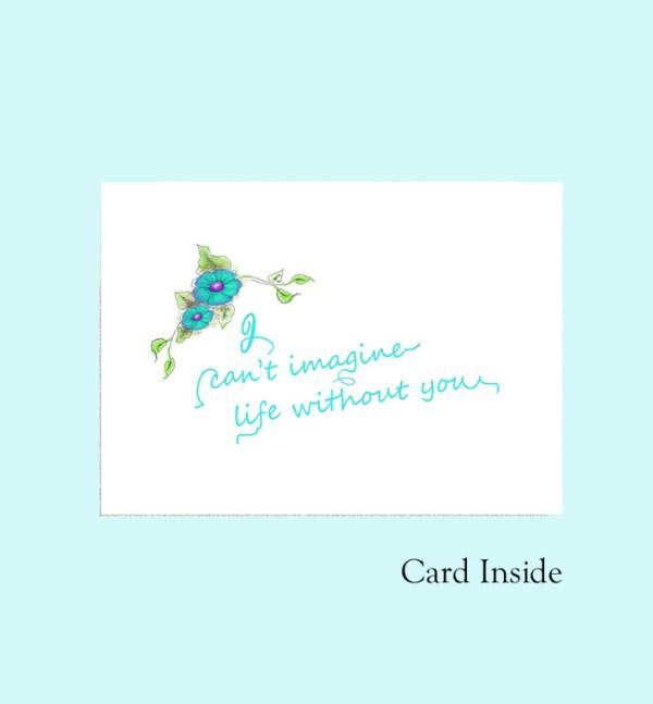 Mother's day card Mom word aqua inside