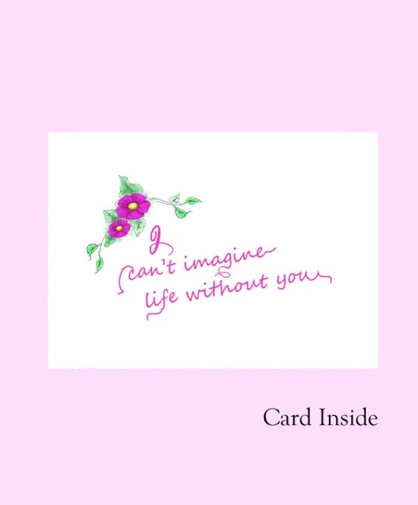 Mother's day card Mom word fuchsia inside