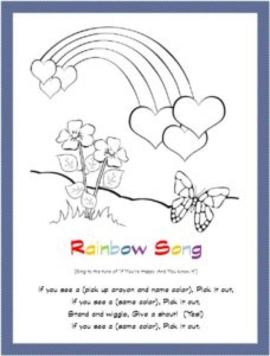 rainbow song coloring page free printable