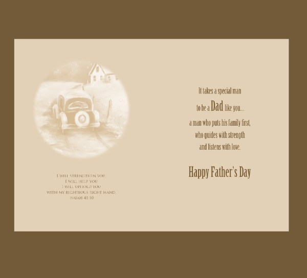 Old Car Gears Father's Day Handmade Card 2017 inside message