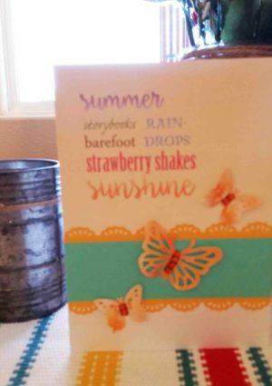 Summer words handmade card with butterflies