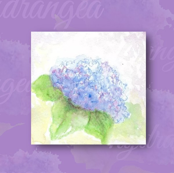 close up of mini watercolor hydrangea flower on purple card