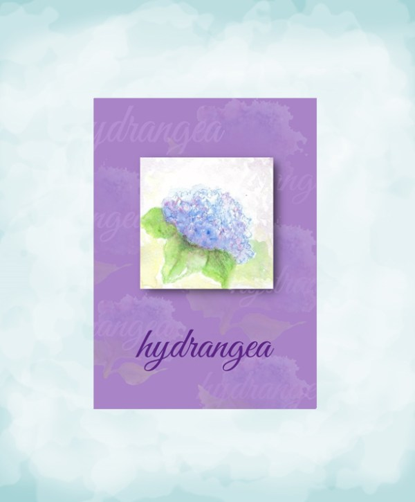 hand painted mini watercolor hydrangea frameable art purple card