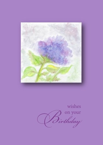 wishes on your birthday watercolor hydrangea lavender card image