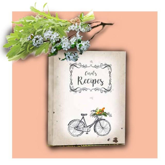 Annie Recipe Album on peach background