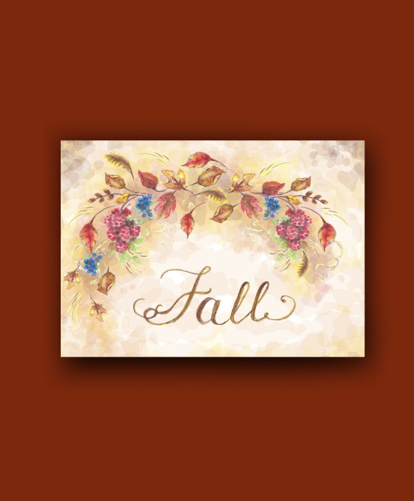 Dark background fall watercolor branch leaves berries on rust display background