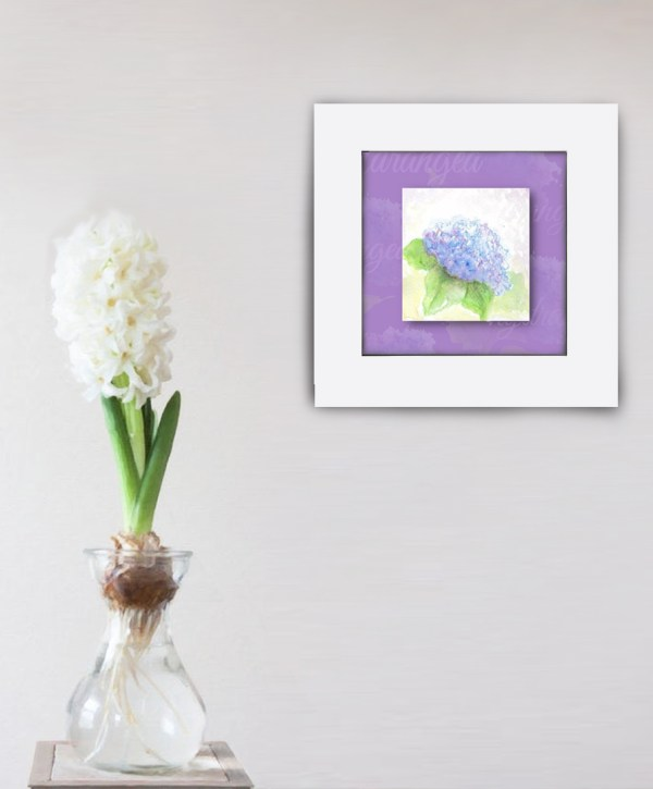 Hydrangea card in frame on wall photo image