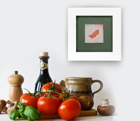 Spice It Up Mini Watercolor Hand Painted Jalapeno Pepper on Green Background Frameable Art