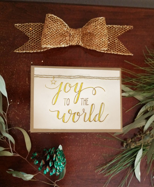 Joy to the World Calligraphy Christmas Card photo 2