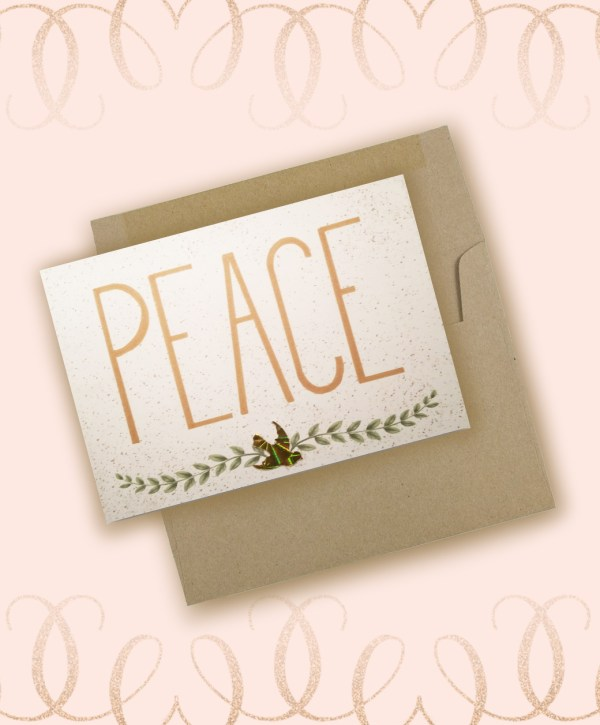 Peace dove branch Christmas card and envelope