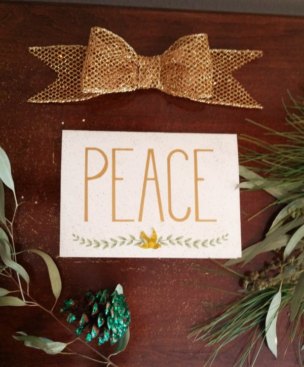 Peace dove olive branch Christmas card photo