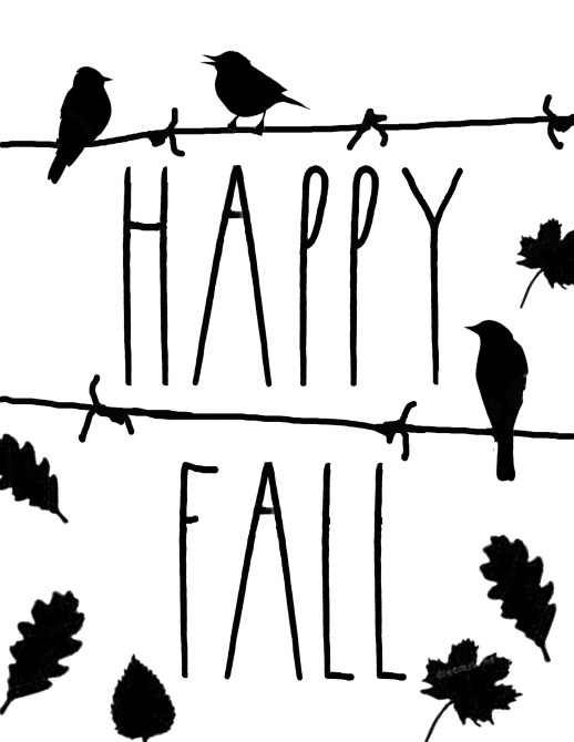 Happy Fall Birds on Wire Download