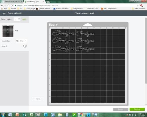 cricut design space screenshot 1000 gifts thank you card