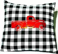 Buffalo check red truck pillow