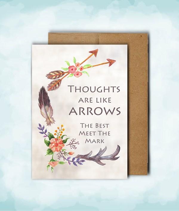 arrows and antlers card and brown kraft envelope