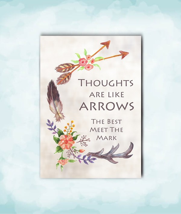 print of original watercolor antler and arrows card for him