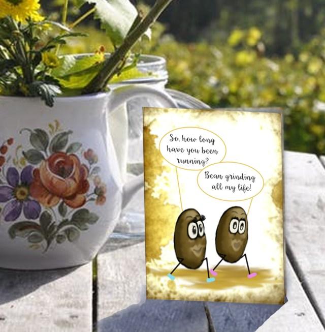 Girl Beans on a Run coffee card on table