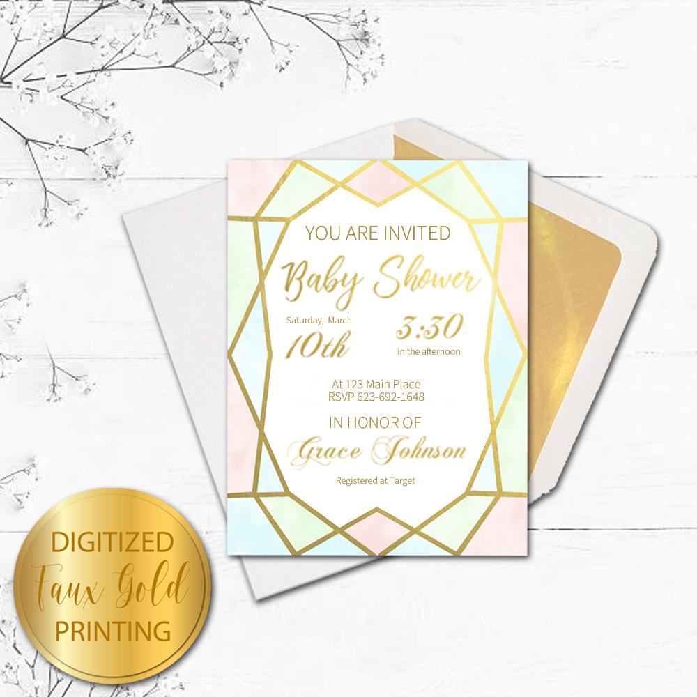 Geo gold baby shower invitation kimenink geo gold baby shower invitation card and envelope filmwisefo
