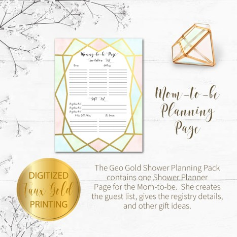 Geo Gold Baby Shower Planning Package Kim Ink