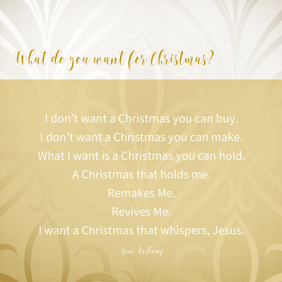 I Believe The Miracle What Do You Want For Christmas Anne Voskamp