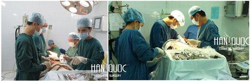 BS Thẩm mỹ Hàn Quốc Kim Hospital đang thực hiện phẫu thuật căng da bụng dời rốn.