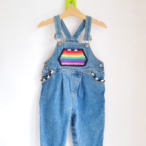 Upcycled Crochet Rainbow Pocket Dungarees 12-24 months