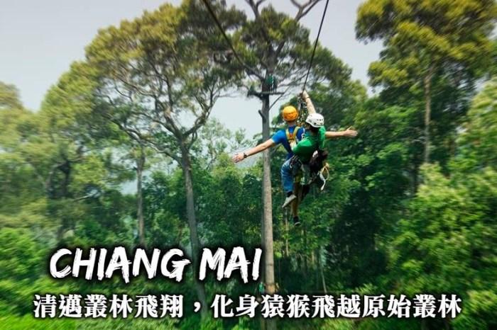 清邁必玩-叢林飛索,清邁驚險刺激的必玩活動,化身猿猴飛越清邁原始叢林(Zipline)!