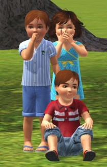 James and Sarah Wyler and cousin Daniel Lloyd as toddlers