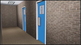 The changing rooms are located in the basement underneath the gym.