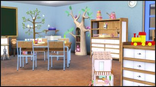 The room offers play centres as well as worktables.