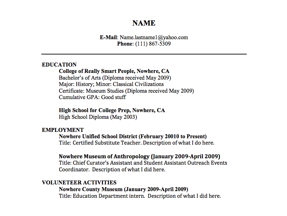 Great Resume Titles Examples