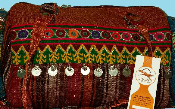 Hand Bag Beige w Hand Embroidery & Mirror Work