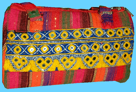 Hand Bag Red w Mirror Work & Yellow Hand Embroidery