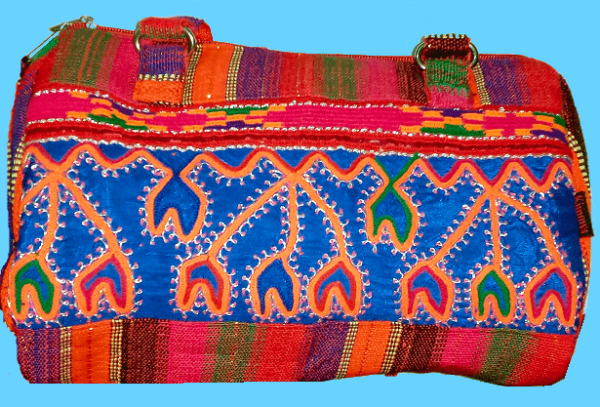 Hand Bag Red w Blue Hand Embroidery