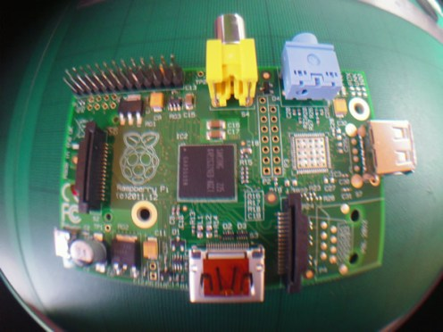 Raspberry Pi model A (fisheye view)