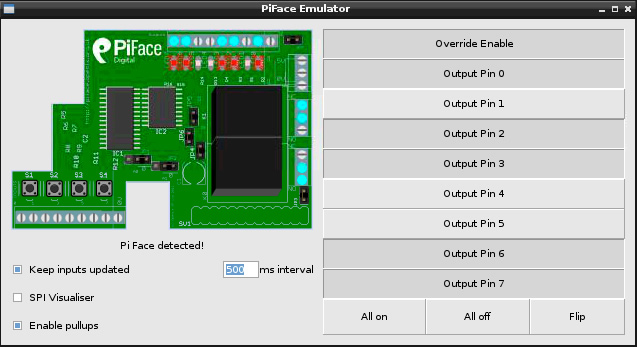 Pi Face graphical emulator