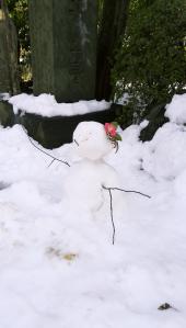 谷中の養福寺の雪ダルマ